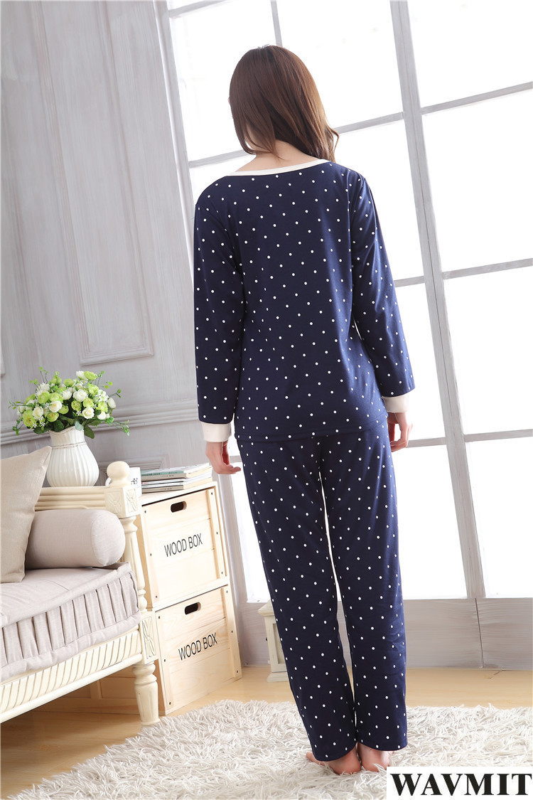 2019 Wholesale 2017 New Women Pyjamas Cotton Clothing Long Tops Set ... f64fb647d