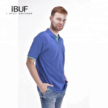 Round Collar Fashionable Polo T-Shirt with Navy Blue Color