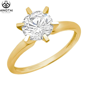 Prong Setting Round Cut 14K 2 gram Chinese Gold Ring CZ Diamond Solitaire Rings Sale