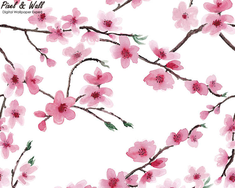 Watercolor Background Cherry Blossoms Nature Wallpaper Hd Designs