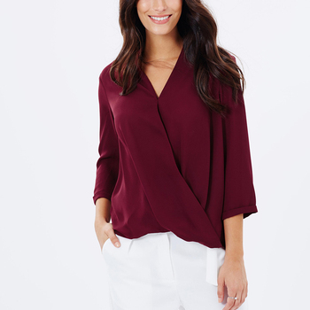 2fa80f284 Ladies Long Sleeve Deep V Neck Wrap Front Top/Fashion New Wrap Tops JDL107