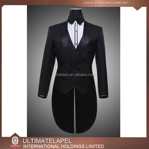 Top quality custom made black swallow tail coat men dress suits