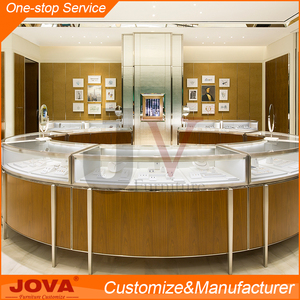 High-end custom round glass jewelry display showcase and table for jewelry store equipment