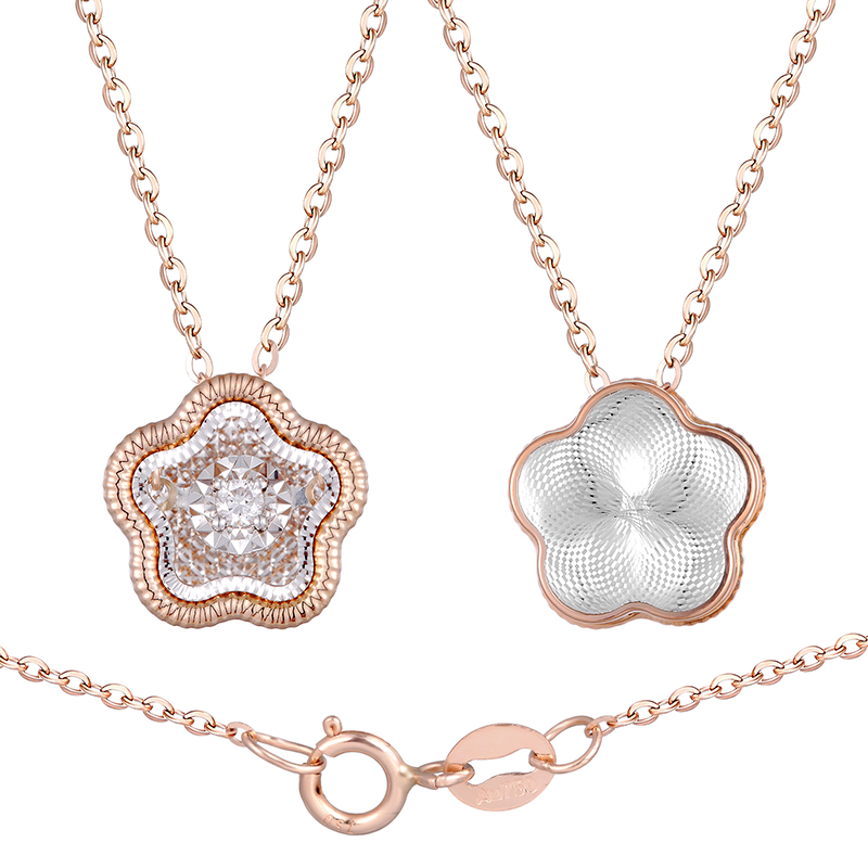 2019 popular modern lady diamonds jewelry 18K rose gold necklace with pendant