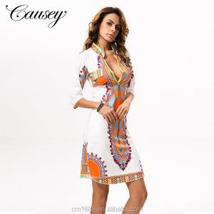 ab4e2fa6d6f 7520 Wholesale Hot Sale African Dashiki Dress Loose V-Neck Mini Casual  Ethnic Printed Dress