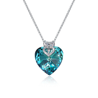 Hot Selling 925 Sterling Silver Pendant Necklace with Heart Crystal Pendant and Oral Cubic Zirconia for Women