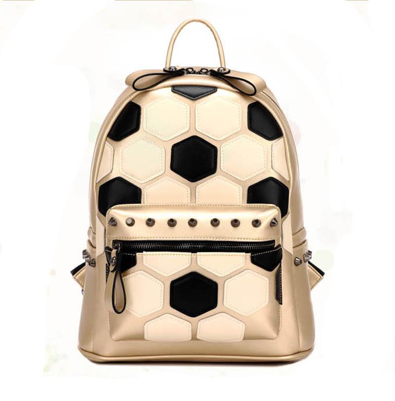 3197416a847f School Student Backpack Gold Soccer Pattern Rivet Women Leather Backpack  Bags Ladies Designer Brand