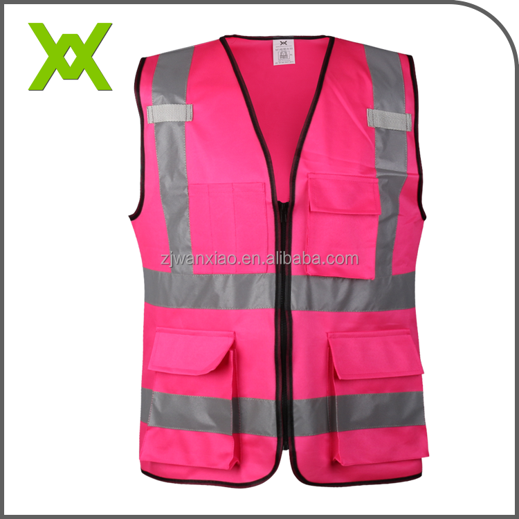 Bright Pink Outdoor Wear Biker Vest Customized Logo Reflective Safety Vest For Woman Oem Service