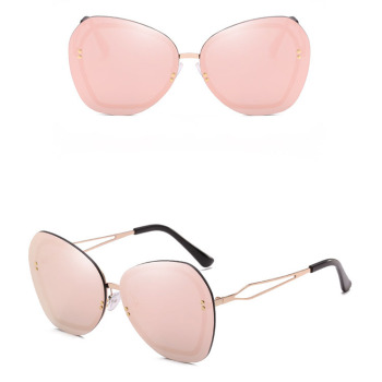 HJ Rimless Frame Polarized Sunglasses Large Size Cat Eye Sunglasses Women Eyewear Glasses
