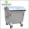 Galvanized garbage container with powder coating