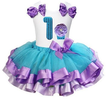Blue Lavender Satin Trimmed Tutu with Bling Number 1 - 6 Lavender Cupcake White Tank Top