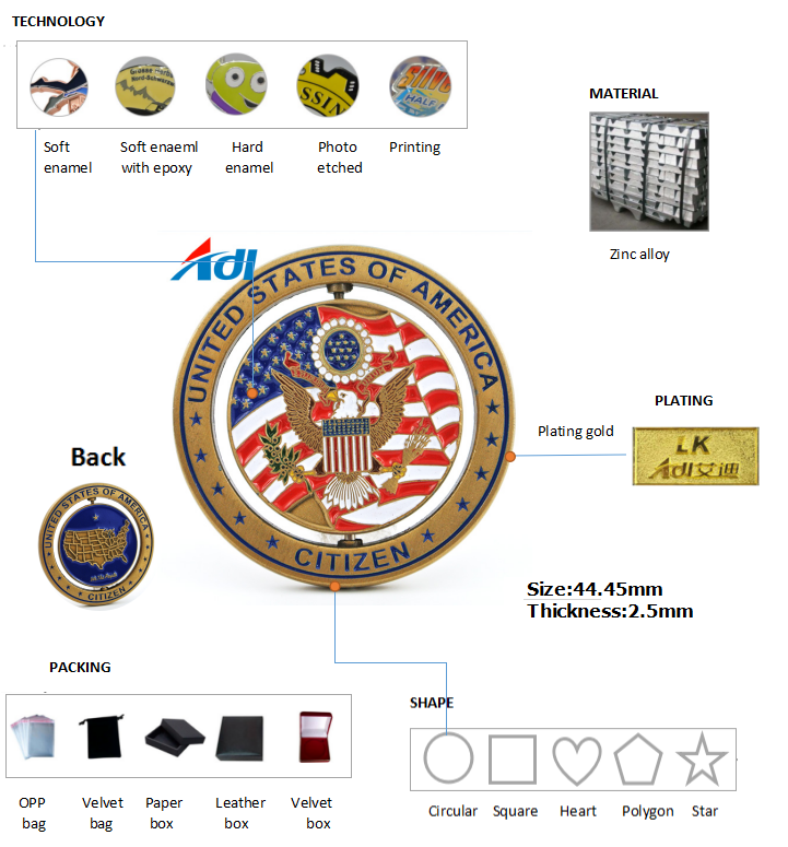 Specialty cheap customized 3d antique metal challenge military coins