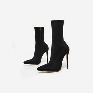 Ladies stiletto Sock Booties stylish sexy high heels Black pointed toe ankle boots