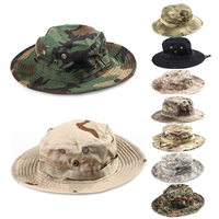 65/35 Polyester/Cotton Digital Camouflage Military Wide Brim Jungle Bucket Fishing Camping Boonie Hat with Chin Strap