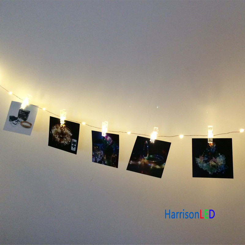 10m 100led warm white 20 transparent clip hanging photo pictures wall  decorative copper wire string lights