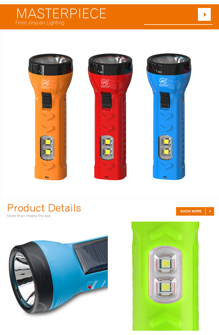 portable led torch light solar powered flashlight with side light