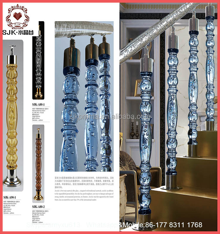 Round Crystal Pillars For Staircase Acrylic Stair Railing House Pillars Design