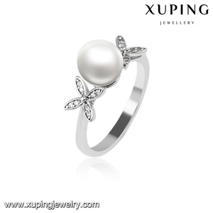 14009 xuping fashion diamond luxury titanium Rhodium color elegant ring