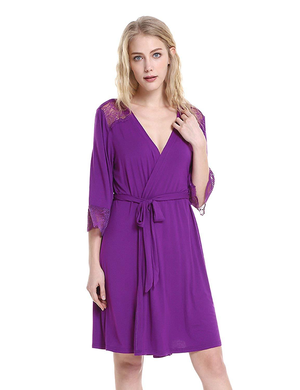 ZAN.STYLE Women's Sleepwear Soft Jersey Knit Robe Bathrobe Lightweight Kimono Robe with Lace Trim