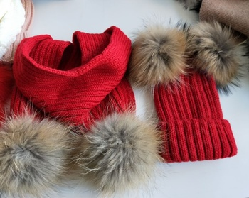 fc684bb89d0 2018 Winter Hats for Kids Raccoon Fur Ball Hat Scarf Set Baby Girls and  Boys Pom