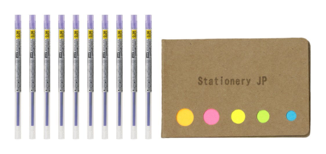 Uni-ball Signo Gel Ink Refills for Uni Style Fit Gel Multi Pen 0.38mm Violet Ink, 10-pack, Sticky Notes Value Set