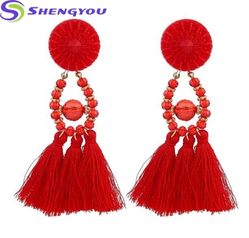 2018 Beautiful Design Handmade Long Dangle Silk Thread Jewelry Tel Rhinestone Earrings