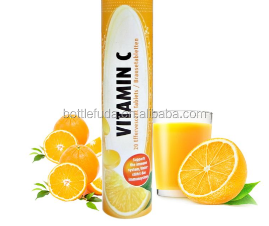 Plastic Vitamin C effervescent tablet tube with desiccant inside