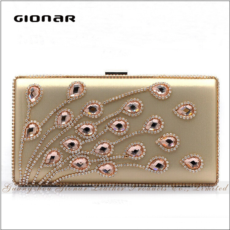 New Arrival Handbag for Girls Detachable Chain Clutch Material Crystal Evening Bag