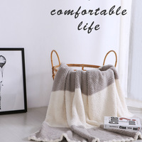 Nordic Style Home Cover Sofa Throw Plush Soft Warm Cream Color Stripe Winter Polyester Family Blanket