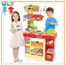 2017 Best gift dining plastic light music kids kitchen set toy