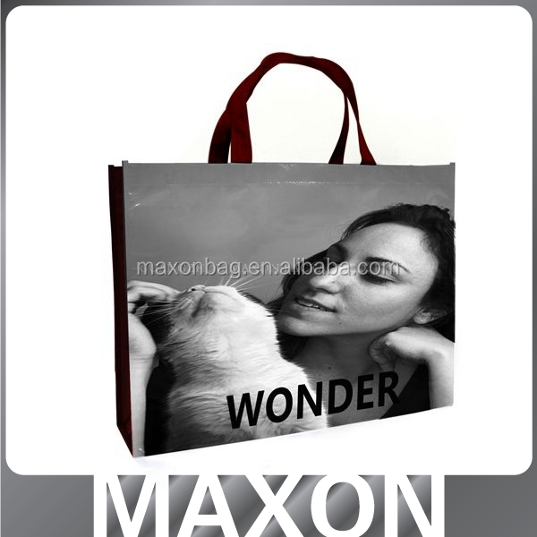 Cute recycle non-woven glossy laminated shopping bag for promotion
