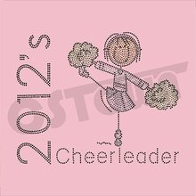2012 Rhinestone cheer leader cute rhinestud hotfix transfer