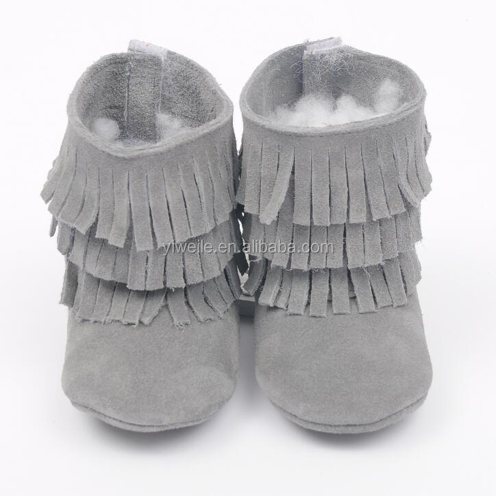 Baby Infant Toddler Crib Boy Girl Shoes Soft Sole Tassel Finge Leather Moccasins Boots