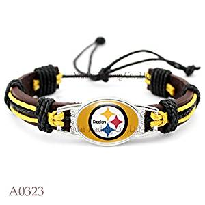 17764fbf598 Pittsburgh Steelers Adjustable Leather Team Bracelet FREE Steelers