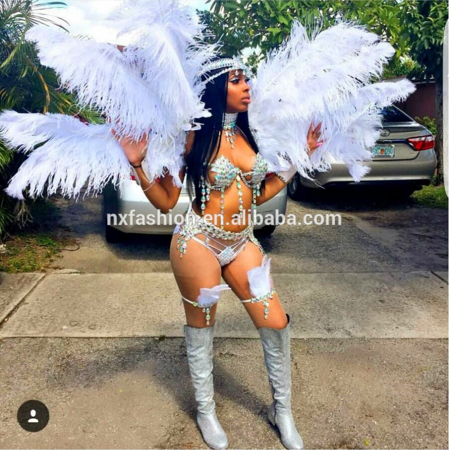 Miami Carnival Costume Design White Silver Design Wholesales Customized Handmade Costume
