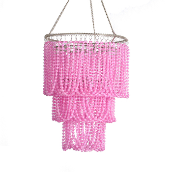 Home decoration three layers pink ball bead lampshade