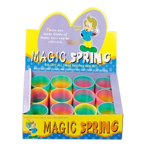 Promotional magic classic colorful coil rainbow spring used hard toys for children