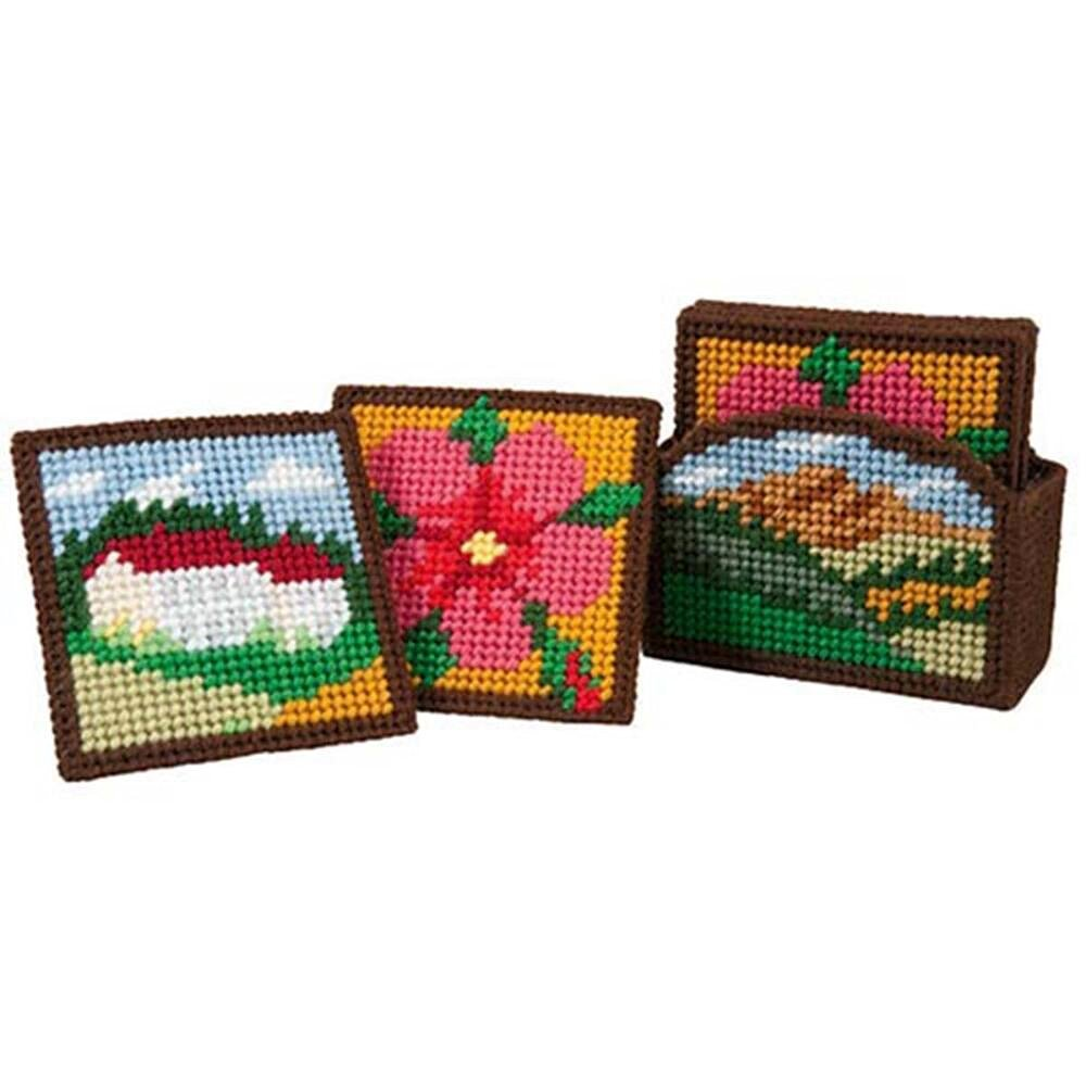 Craftways Tuscany Coasters with Holder Plastic Canvas Kit
