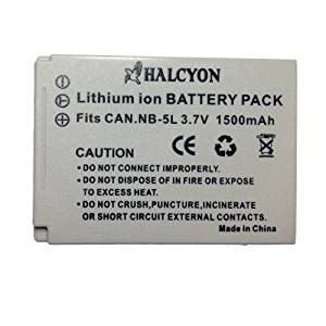 Halcyon 1500 mAH Lithium Ion Replacement Battery for Canon NB-5L and Canon PowerShot S110, S100, SD700 IS, SD790 IS, SD800 IS, SD850 IS, SD870 IS, SD880 IS, SD890 IS, SD900, SD950 IS, SD970 IS, SD990 IS, SX200 HS, SX210, SX220 HS, SX230 HS