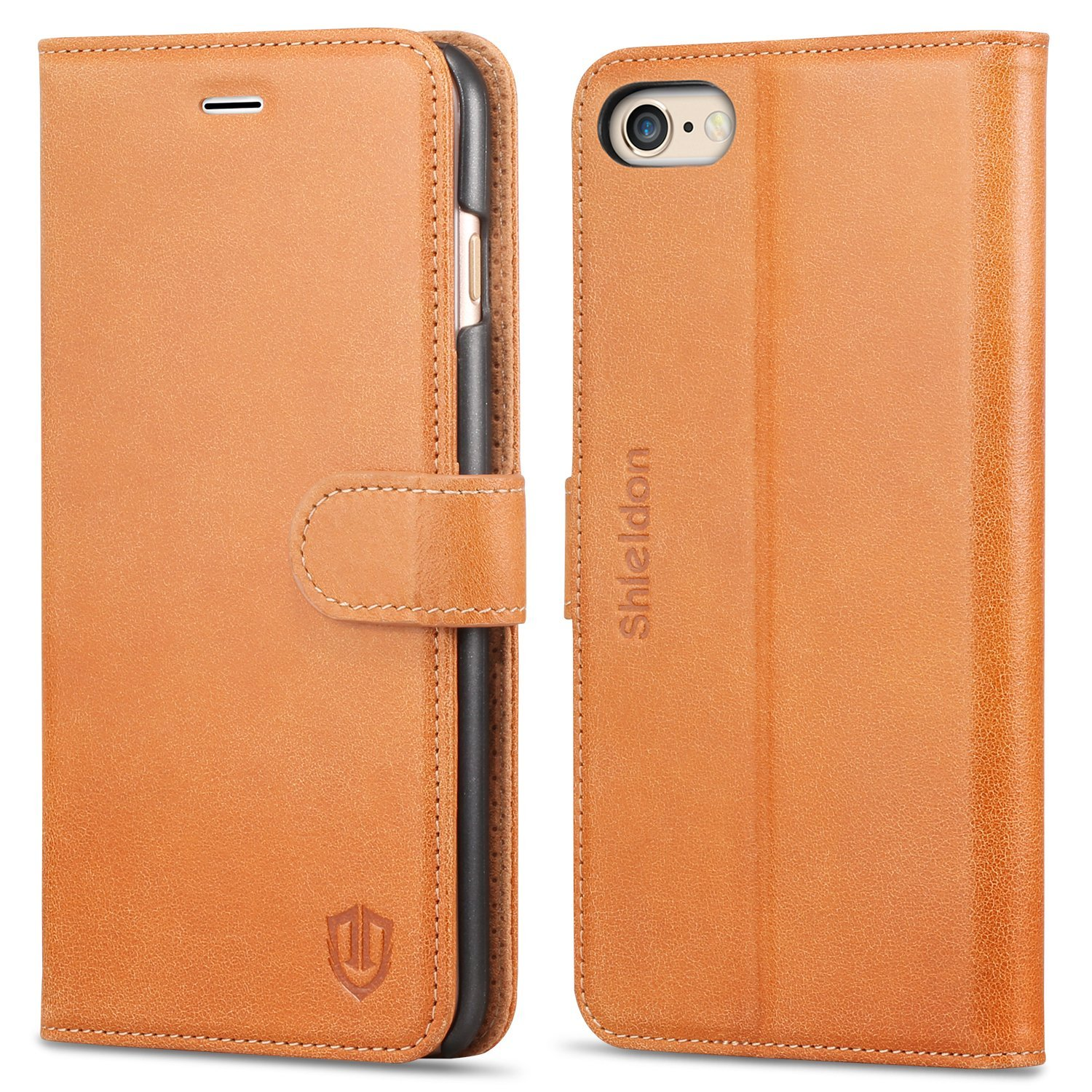 "iPhone 6s Plus Case, iphone 6 Plus Wallet case, SHIELDON Flip Folio [Kickstand Feature] Genuine leather Wallet Case with ID & Credit Card Holder for iPhone 6 Plus / iPhone 6S Plus 5.5"" Brown"