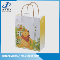 2016 Luxury Promotional Recycled Kraft Paper Shopping Gift Bag With Custom Logo Print