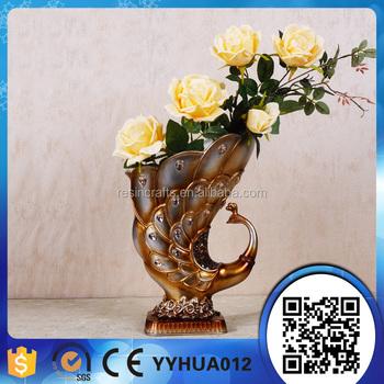 Hot Sale Resin Big Flower Vases Gold Flower Pot Sresin Flower Pots