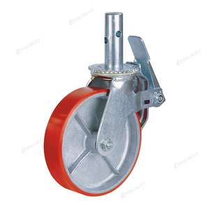 Long way high quality 6 / 8 / 10 inch 450 kg stem scaffolding caster PU on cast iron wheel
