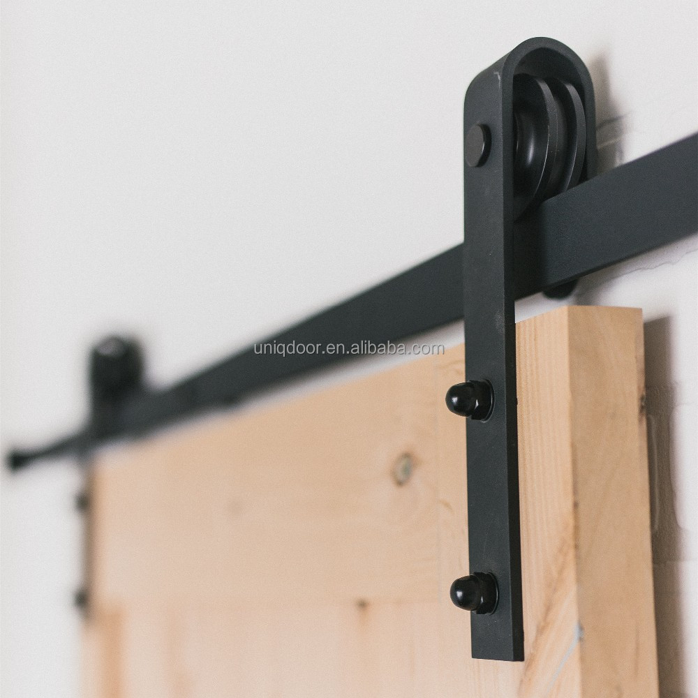Black powder coated functional sliding door <strong>hardware</strong>, barn door track