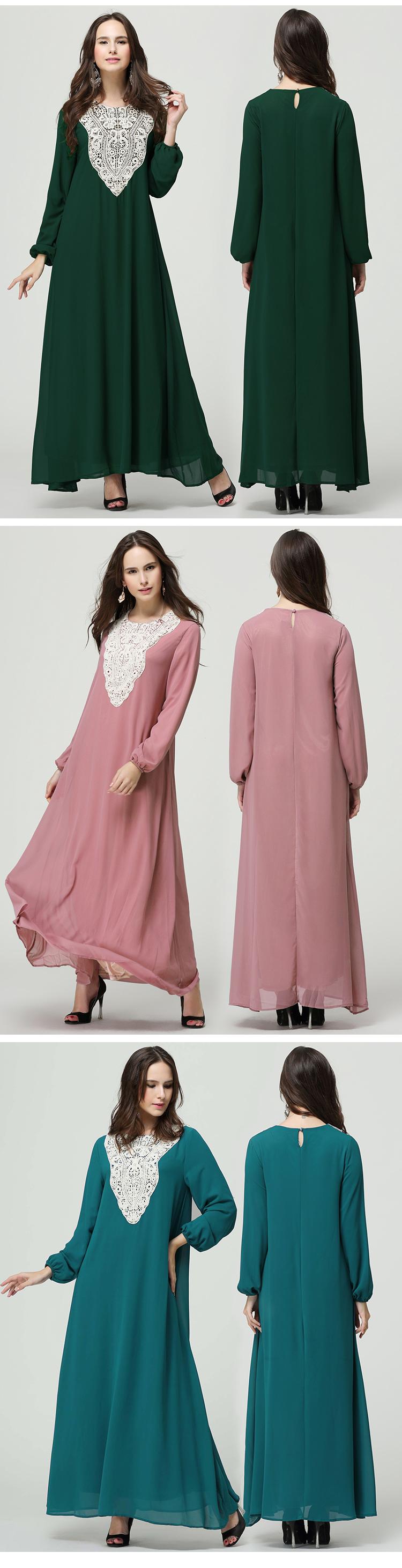 Md10009 Wholesale Muslim Islamic Plus Size Dress Long Sleeve Abaya