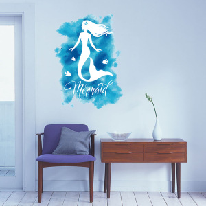 50*70cm Blue Ocean Mermaid Creative Wall Stickers Affixed With Decorative Wall or Window Decoration for kids rooms
