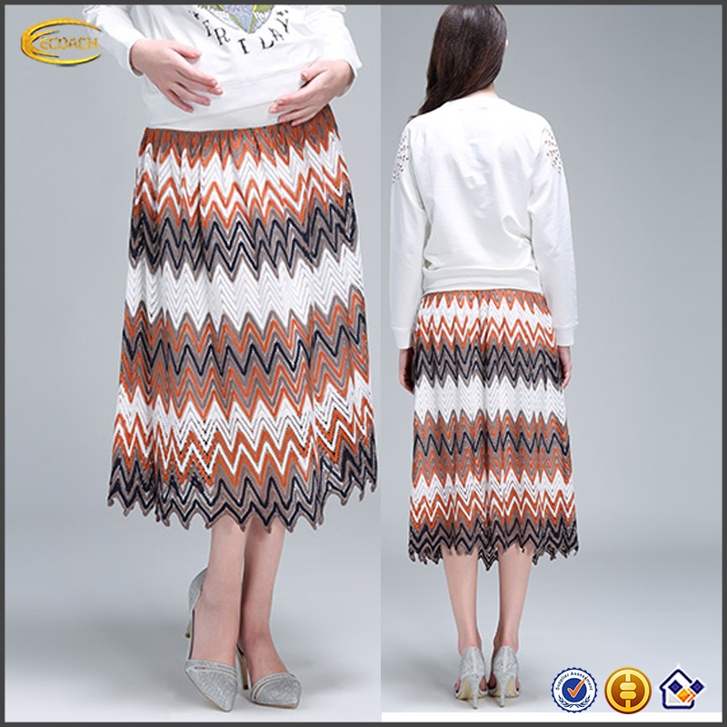 Wholesale OEM Latest summer design pregnant women Zigzag Vibrant Skirt high Waist casual Maternity Skirt with special patterns