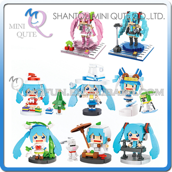 Mini Qute Kawaii loz 8 styles Anime Hatsune Sakura Miku cartoon diamond block plastic cube building block educational toy