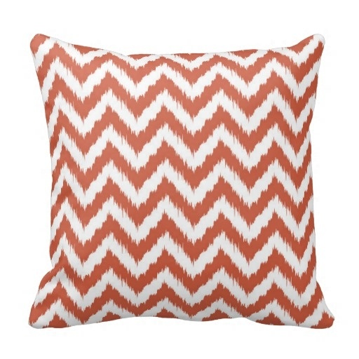 Athletic Dark Coral And White Bohemian Chevron Pillow Case (Size: 20
