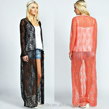 Summer Sheer Lace Cardigan Long Sleeve Floral Kimono - Buy Floral ...